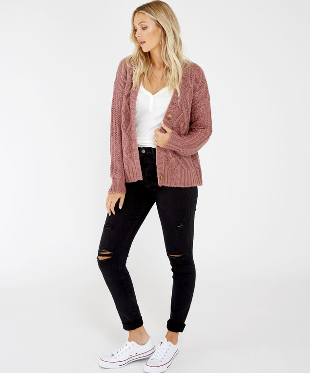 cable knit cardigan - wb, PINK, hi-res