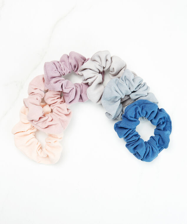 6 pack black scrunchies, Peach, hi-res