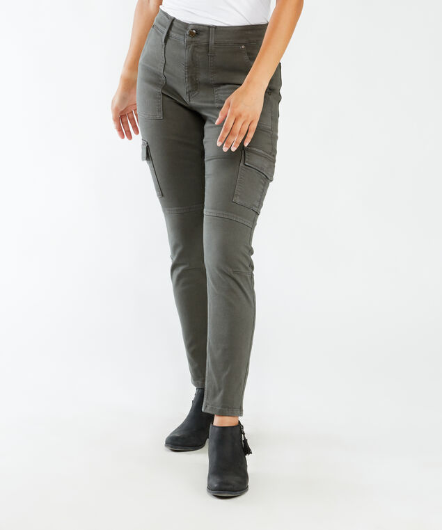 high rise skinny ankle cargo,