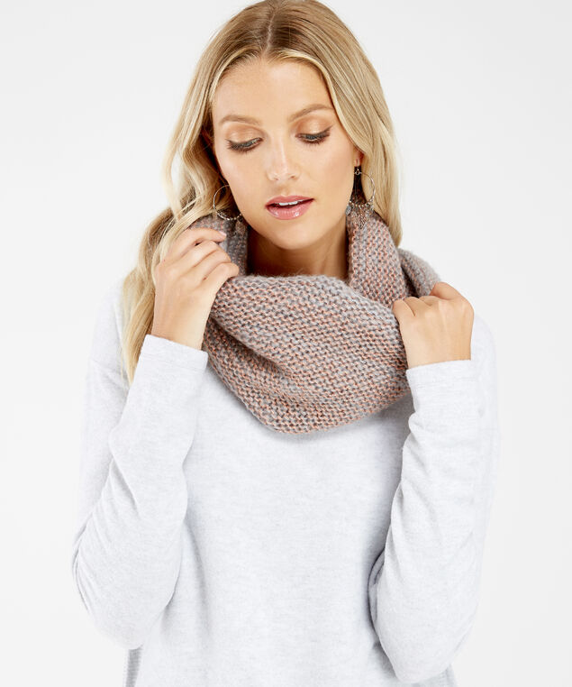 lurex eternity scarf, dark grey, hi-res