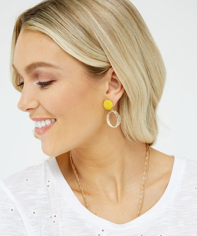yellow beaded studs with hooops, Gold, hi-res