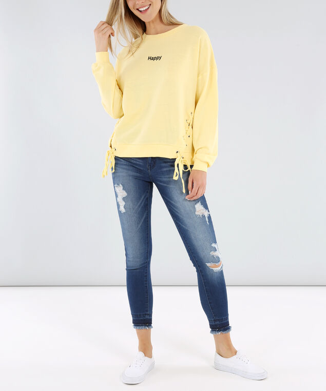 side lace up crew neck - wb, PALE BANANA, hi-res