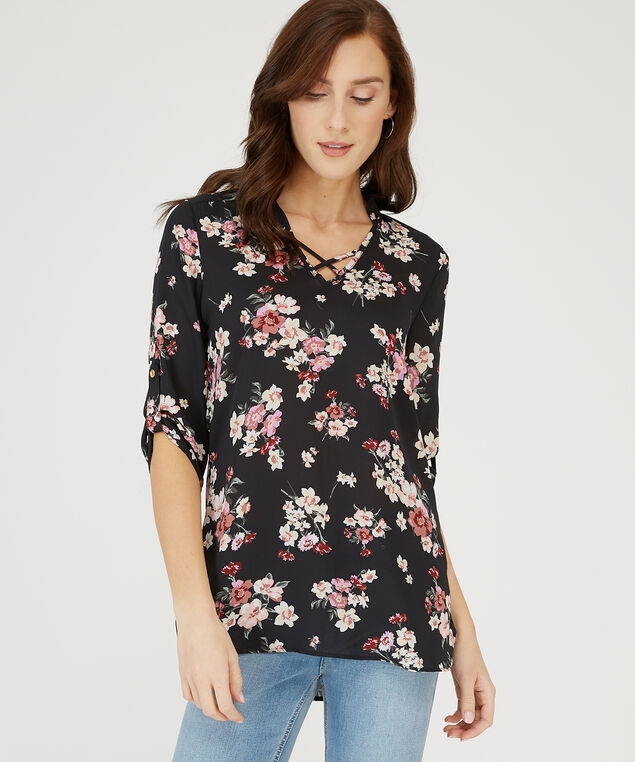 floral top with criss cross neck detail - wb, BLACK FLORAL, hi-res