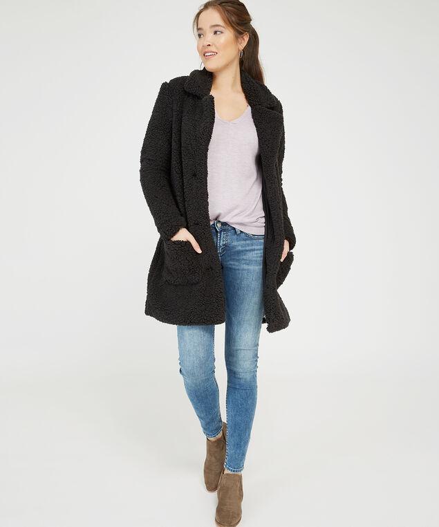 black sherpa coat - wb, BLACK, hi-res