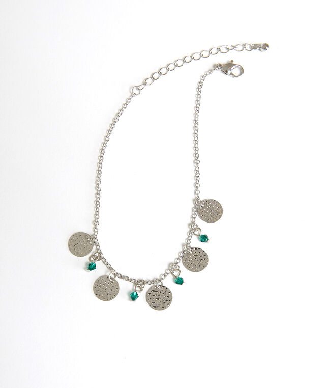 disc and bead anklet, Silver, hi-res