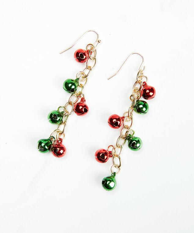 jingle bell earrings, Gold, hi-res