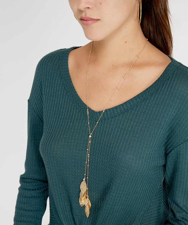 lariat leaf necklace, GOLD, hi-res