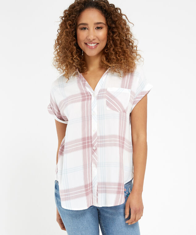 plaid shirt - wb, WHITE MAUVE, hi-res