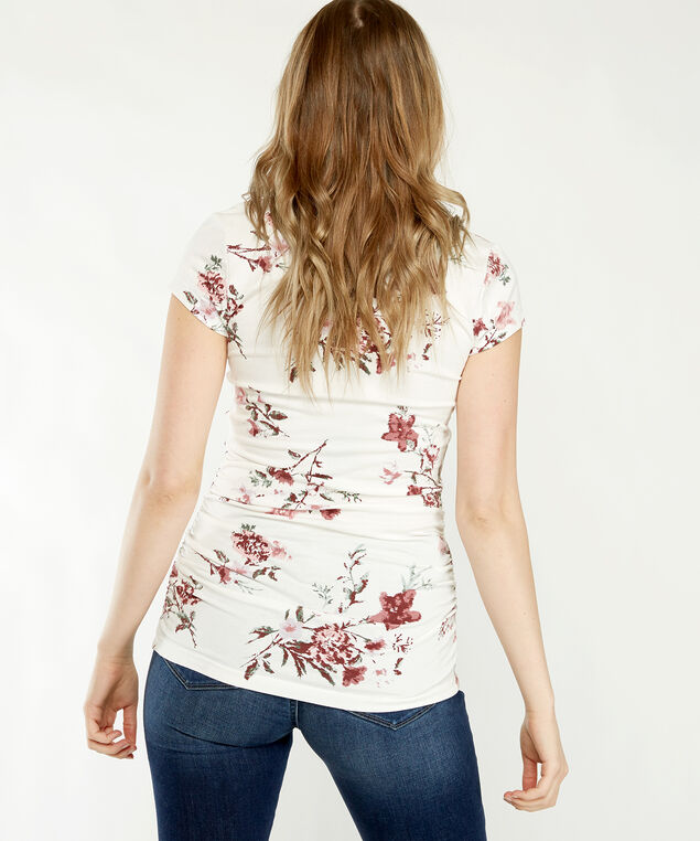 jenny ruched prints, Ivory Floral Print