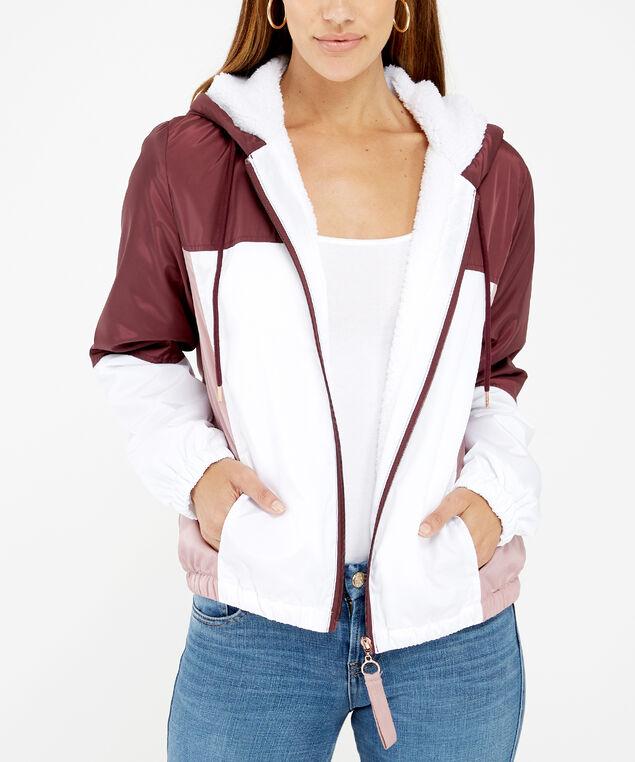 colour block jacket, Plum, hi-res