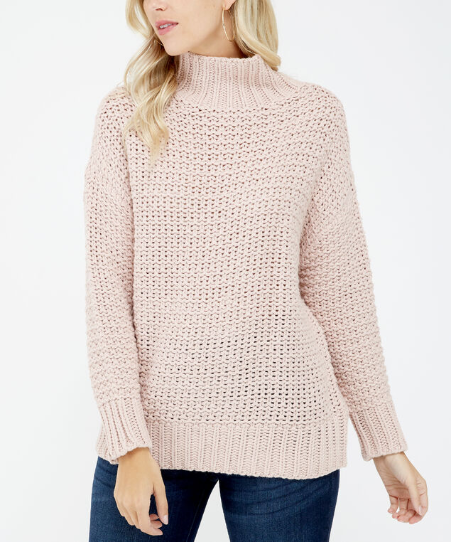 chunky turtle neck sweater - wb, Pink, hi-res