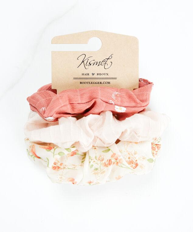 3 pack scrunchies, Rust/Pink Pattern