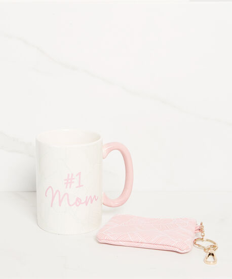 #1 mom mug  with coin case, Pink, hi-res