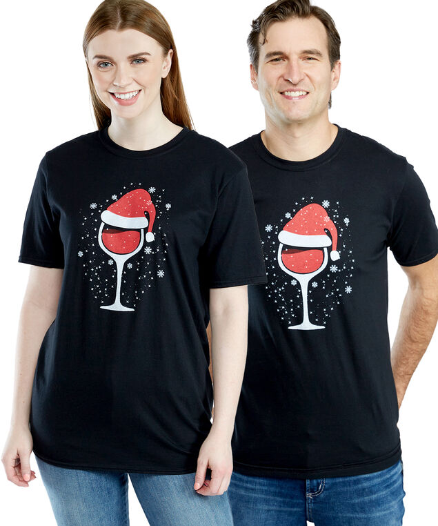 festive wine glass graphic tee, Black