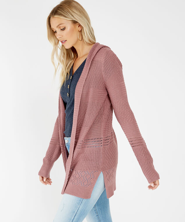 pink hooded cardigan - wb, PINK, hi-res