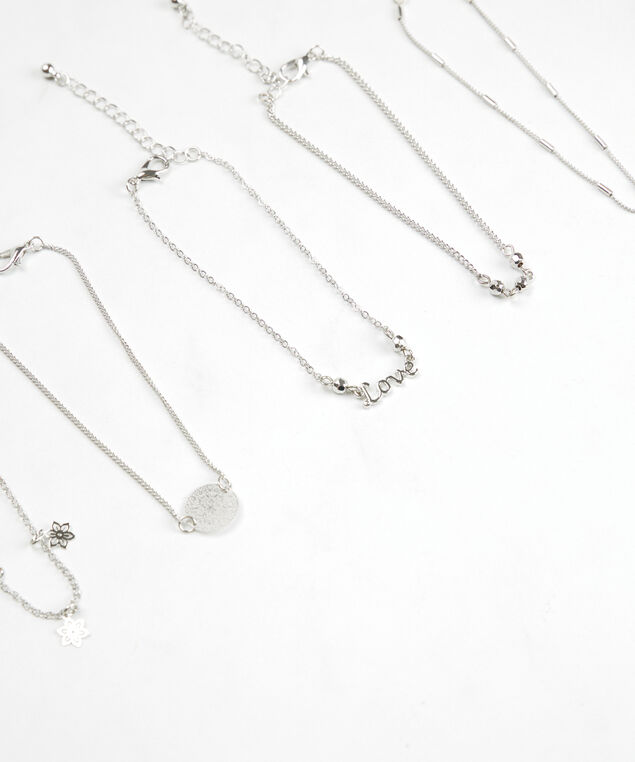 chain and charm anklets, Silver