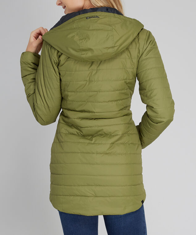 puffer jacket with hood - wb, OLIVE BLACK, hi-res