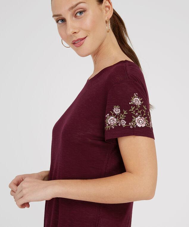 embroidery sleeve tee - wb, BURGUNDY, hi-res