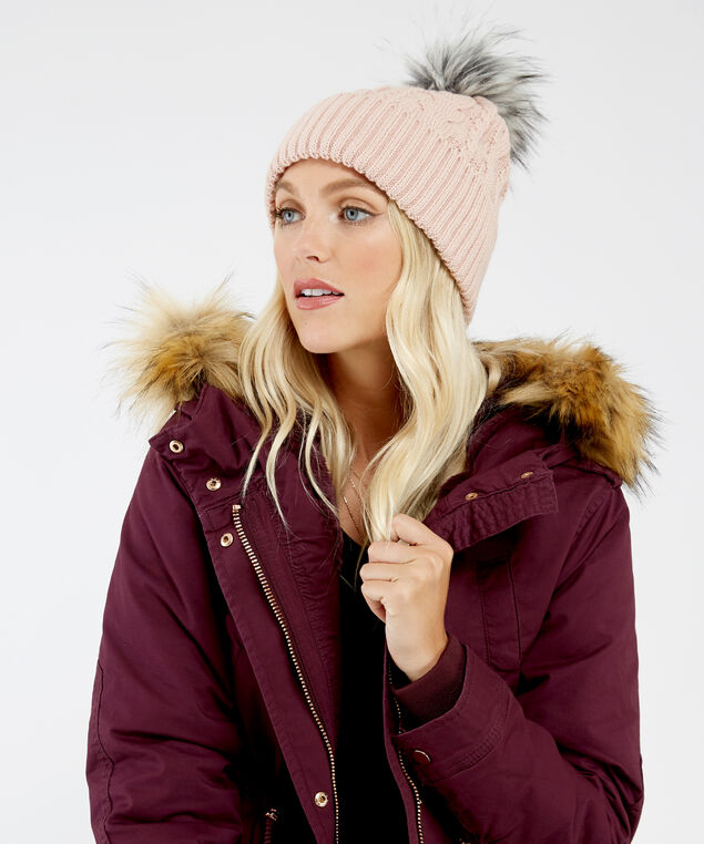 cable knit beanie, ROSE, hi-res