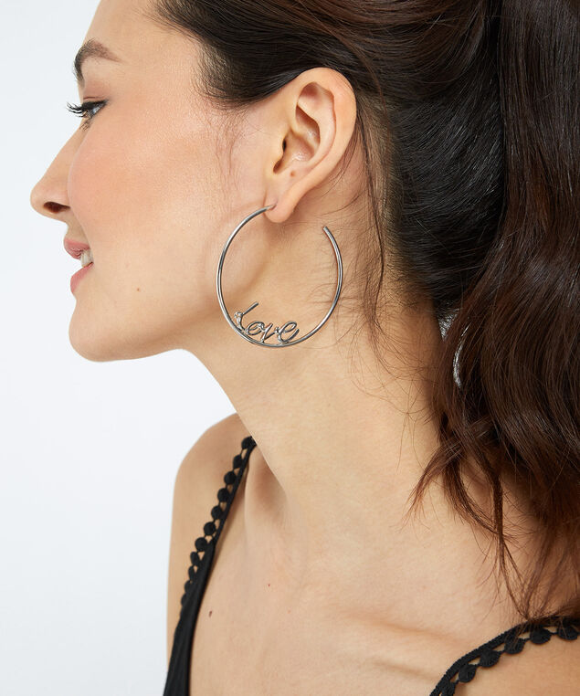 love hoop earrings, Silver, hi-res