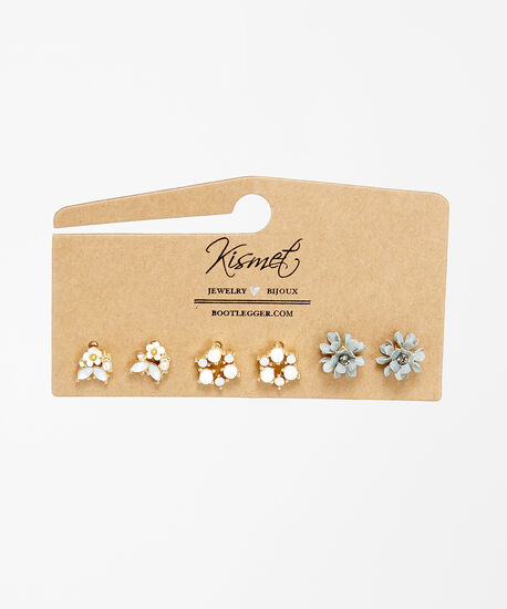 flower studs, Gold, hi-res