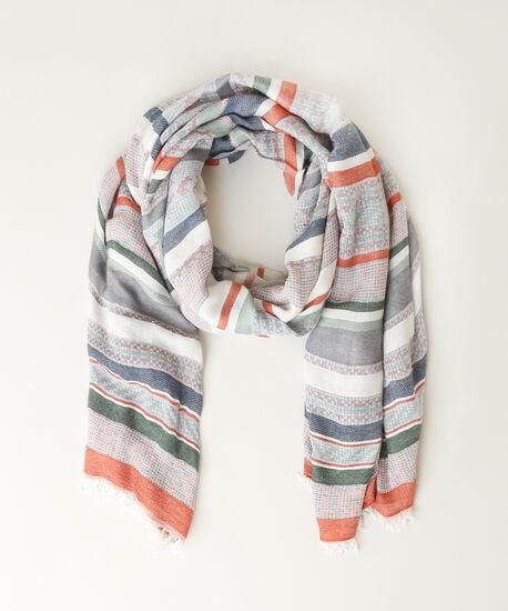 mixed stripe scarf, ORANGE/GRN, hi-res