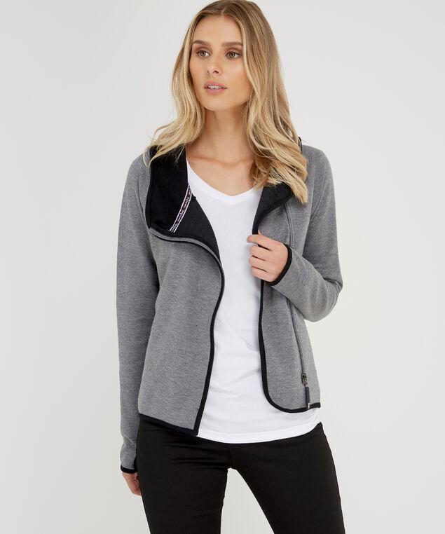 asymmetrical zipper hoodie - wb, HEATHER GREY, hi-res