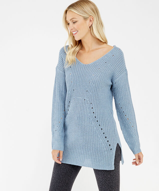 pointelle stitch sweater - wb, Blue, hi-res