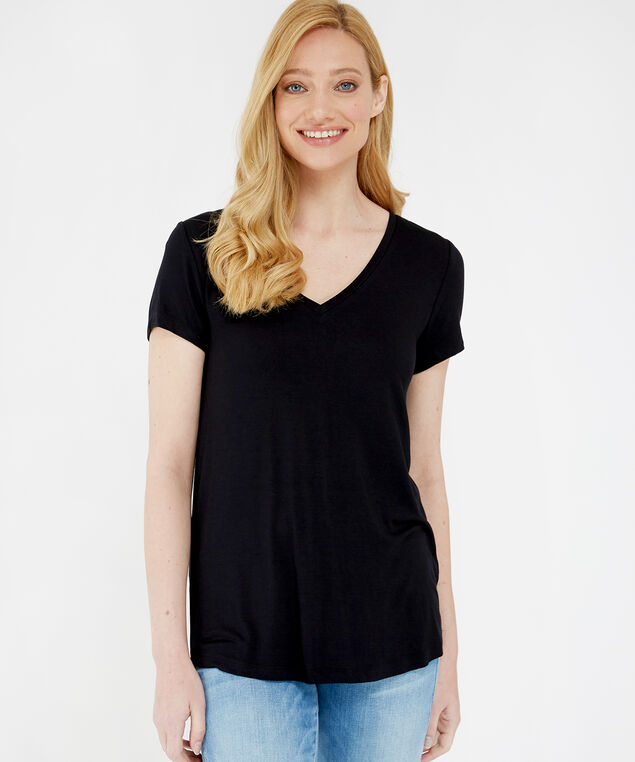 paige core v neck, BLACK, hi-res