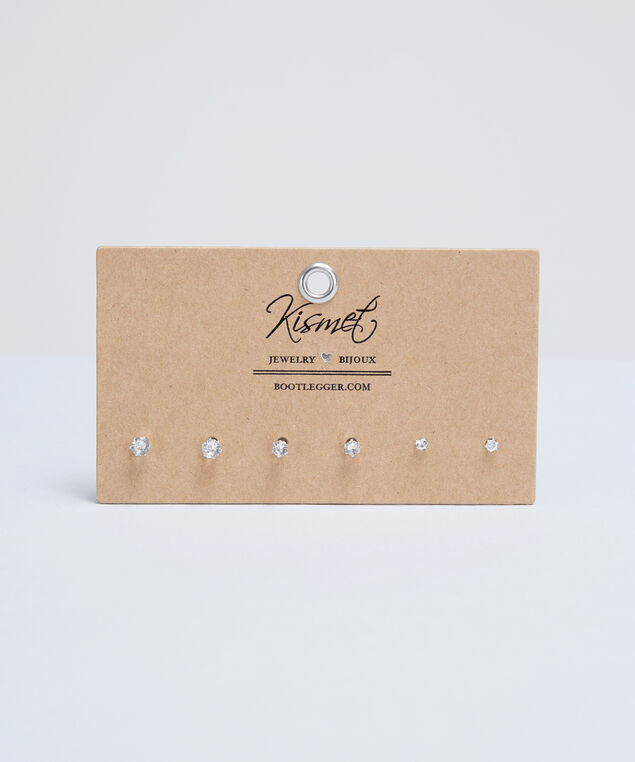 trio earring set, CLEAR, hi-res