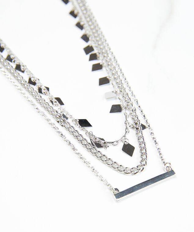 3 row chain necklace, Silver, hi-res