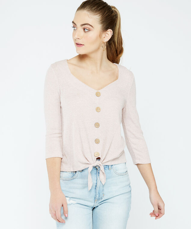 3/4 sleeve button top - wb, Pearl, hi-res