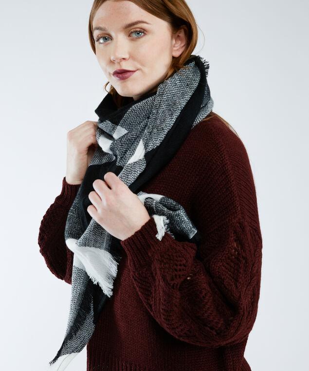 plaid triangle scarf, Black/White