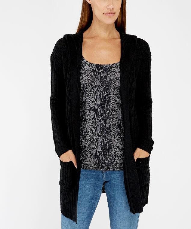 hooded cardigan - wb, Black, hi-res