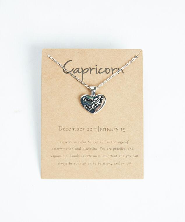 capricorn zodiac necklace, Silver
