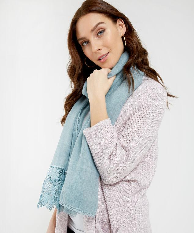 oblong scarf with crochet, ROBIN EGG, hi-res