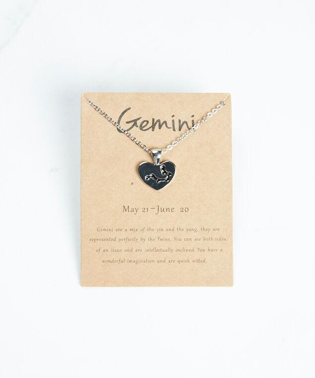 gemini zodiac necklace, Silver