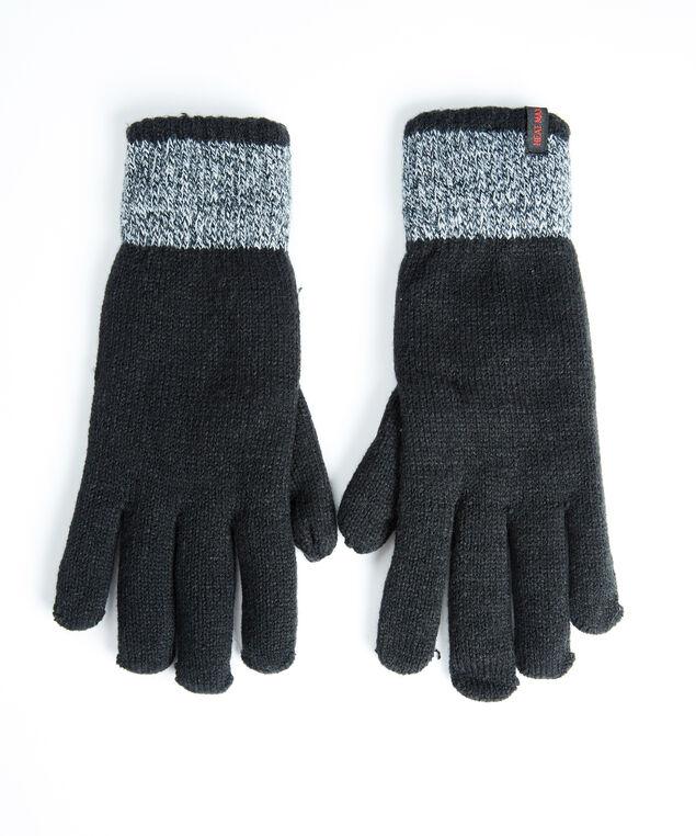 men's thermal knit gloves, Black/Grey