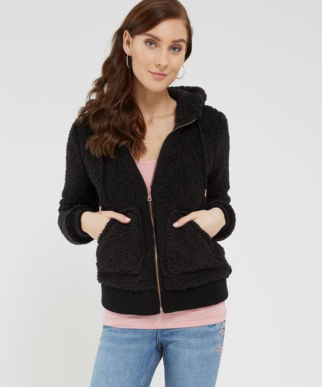 sherpa jacket with hood - wb, BLACK, hi-res