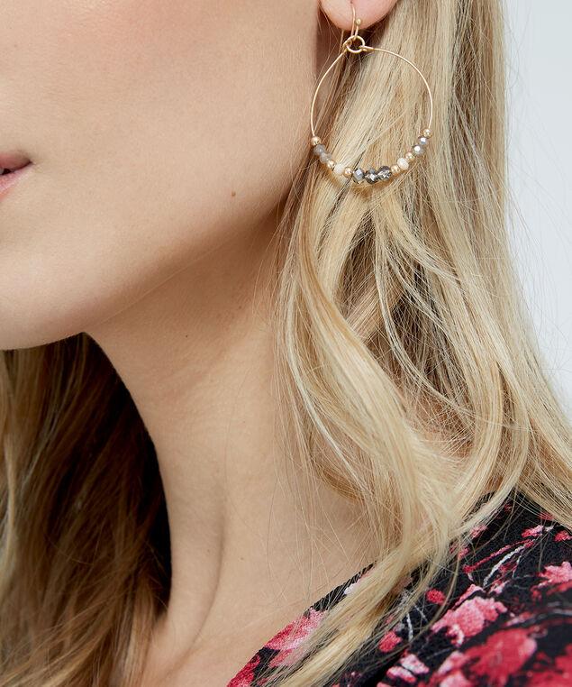hoop earrings with beading, GOLD, hi-res