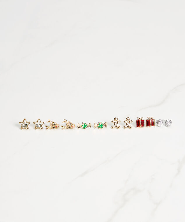 6 pack holiday earring set, Gold, hi-res