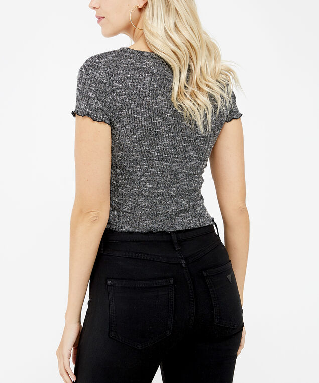 button down crop - wb, Black, hi-res