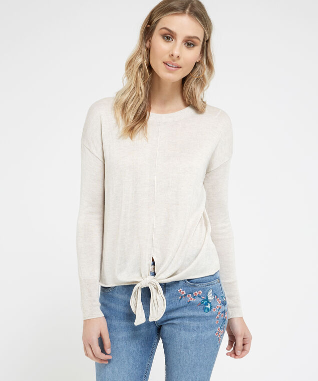 popover sweater with tie front - wb, OATMEAL, hi-res