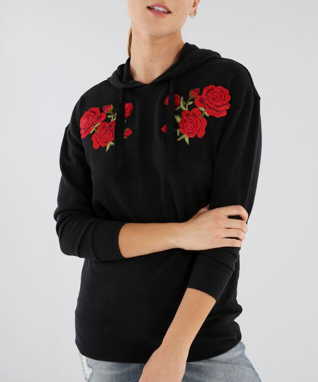 hoodie with floral patch - wb, BLACK, hi-res