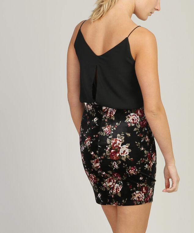 dress with printed stretch velvet skirt - wb, VELVET PRINT, hi-res