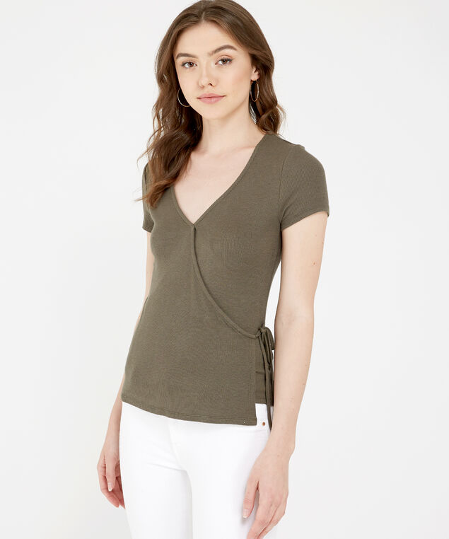 ribbed side tie tee - wb, SPANISH OLIVE, hi-res