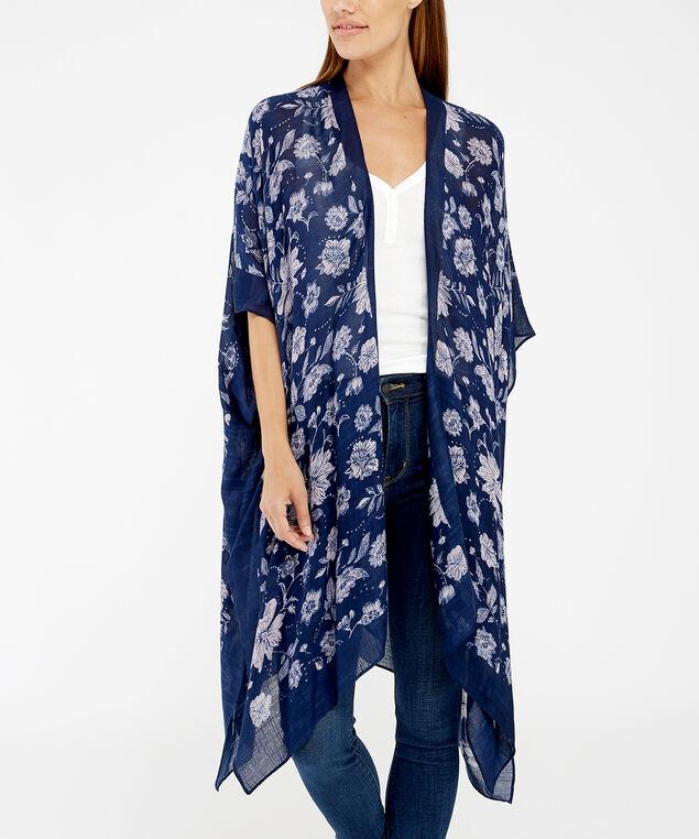 floral kimono, BLUE PATTERN, hi-res