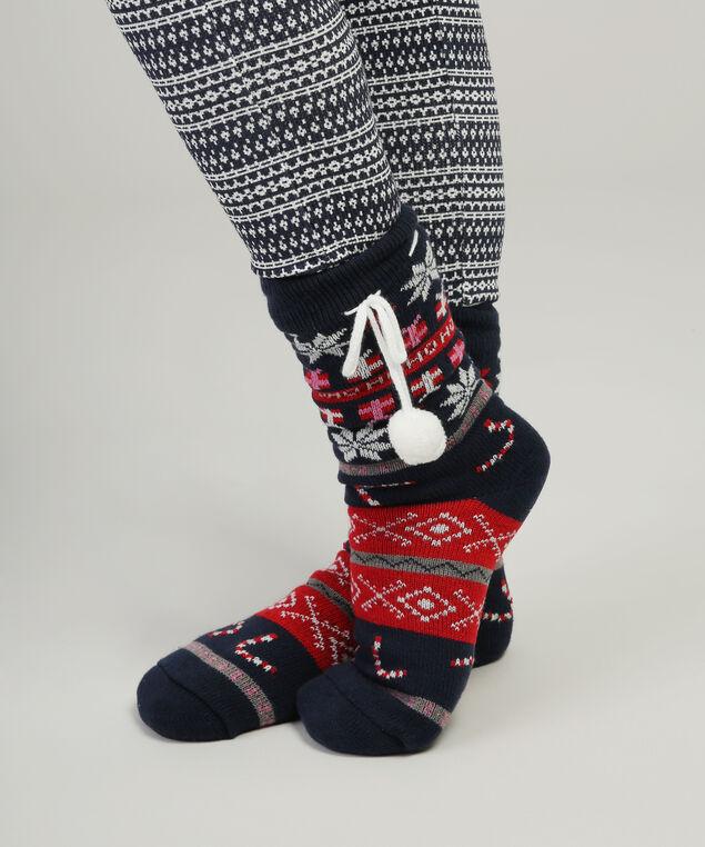 cable knit slipper sock hol17, NAVY FAIRISE, hi-res