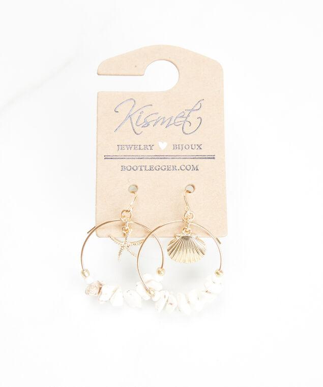 shell hoop earrings, Gold