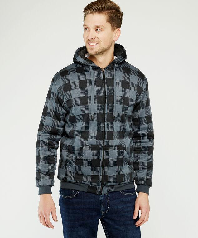 check hoody, Black/Grey, hi-res